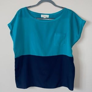 Two-tone Blue Top